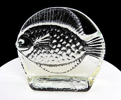"""BLENKO ART GLASS CLEAR FISH ROUND 5 3/8"""" BOOKEND 1960's"""