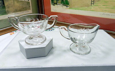 """Vintage Clear Glass 3"""" Creamer And Sugar With Etched Single Stem Flower"""