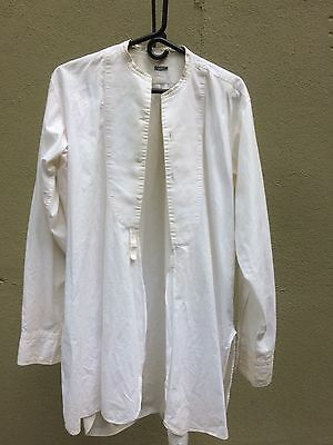 Antique Collarless Mens White Dress Shirt Cotton French Cuffs original 1800's