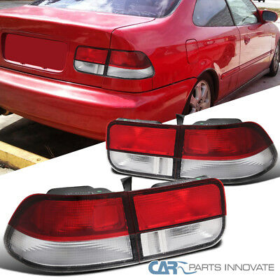 Fit Honda 96-00 Civic 2Dr Coupe Tail Lights Brake Stop Rear Lamps Red Clear Pair