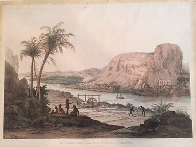 Giovanni Belzoni Egypt 1820 Plate 42 Color Folio Two Temples at Ybsambul RARE!!!