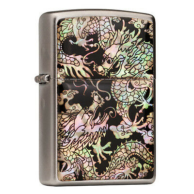 Mother of Pearl Double Dragon Flip Top Windproof Metal Chrome Pocket Oil Lighter