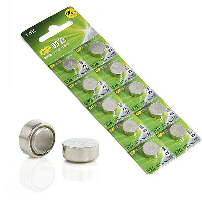 10Pcs GP LR44 AG13 1.5V Coin Button Cell Alkaline Batteries 357 SR44 A76 LR1154