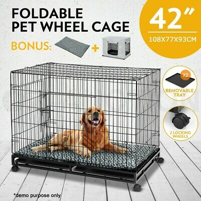"""42"""" Metal Pet Cage Collapsible Dog Crate with Lock Wheels 2 Trays Cushion Cover"""