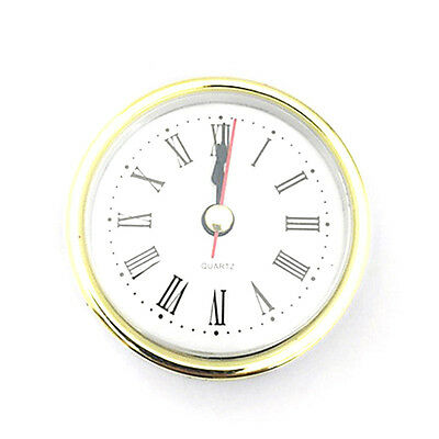 "2-1/2"" (65mm) QUARTZ CLOCK FIT-UP/Insert, Gold Trim, Roman Numeral Easy to Use"