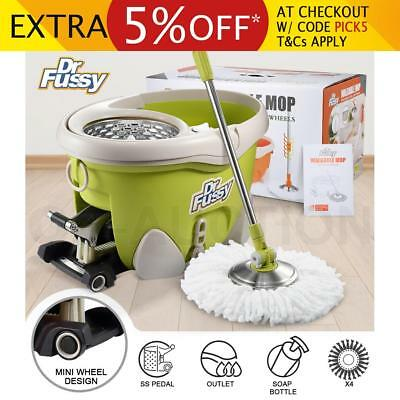 DR FUSSY Walkable Spin Mop Bucket System Hurricane Mop with Wheels 12L - Green
