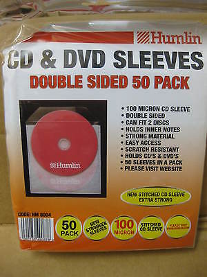 50 x CD DVD DOUBLE SIDED SLEEVES FITS 2 DISCS STRONG PROTECT DISC CLEAR HOLDS NO