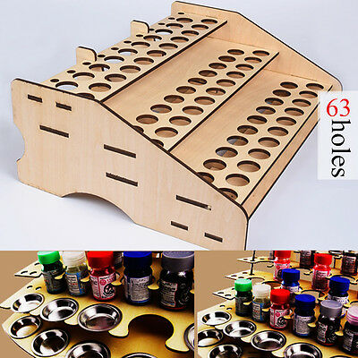 63 Pots Wooden Color Paints Bottle Storage Rack Holder Modular Organizer Stand