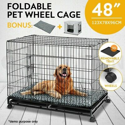 "48"" Pet Cage Collapsible Metal Dog Crate With Wheels 2 Trays Cushion & Cover"