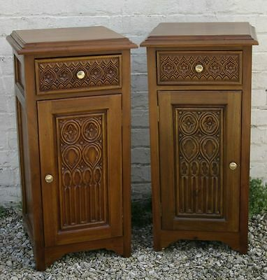 Two Solid Mahogany Gothic Style Carved Tudor Bedside Chests Pair
