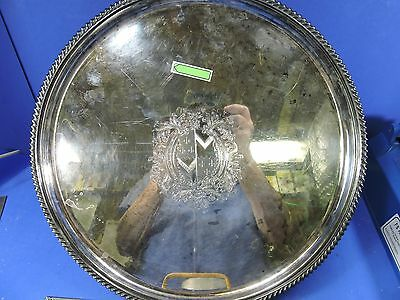 Vintage Silver Plate Tray 14 1/8 Dia. With A Coat Of Arms  Made In England