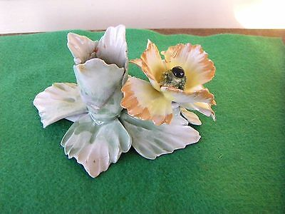 Vintage Capodimonte Porcelain Yellow & Gold Flower Candle Holder Stamped