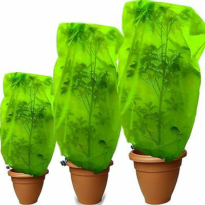 Garden Plant Tree Fleece Cover Pests Weather Frost Protector Draw Strings