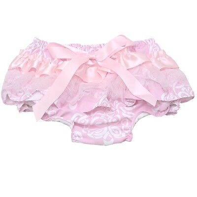 Baby Girls Pink Scroll Pattern Ruffle Lace Bow Diaper Cover Bloomers 0-18M