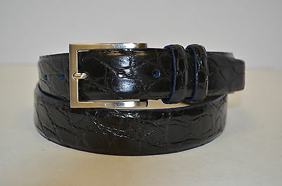 NWT RALPH LAUREN Black Semi Glossy Genuine Crocodile Belt Sz 40 160513A AT