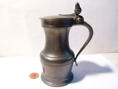 Vintage Pewter Lidded Tavern Ale Measure Jug France #1