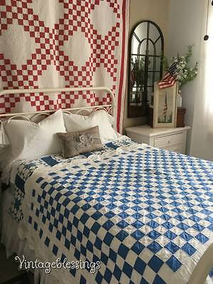 Cottage Perfect Dtd 1937 Vintage Blue & White Checkerboard QUILT 96x61""