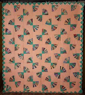 """Large Peach & Green VINTAGE 30-40s Fans QUILT Great Border! 91x81"""""""