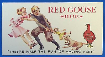 Antique Original RED GOOSE SHOES doll & dog Advertising Ink Blotter