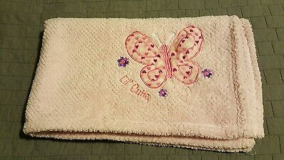 Little Beginnings Lil Cutie Pink Waffle Fleece Baby Girl Butterfly Blanket New