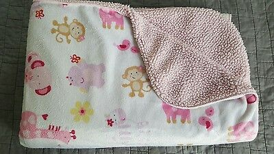 JUST BORN pink jungle animal Sherpa BLANKET monkey giraffe hippo monkey security