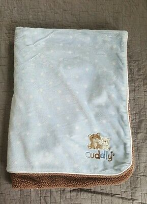 Carter's Child of Mine Baby Bear Blanket Cuddly Sherpa Fleece Blue Brown 30x40""
