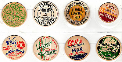 Lot Of 8 Named Wisconsin Dairy Milk Bottle Caps Wis  Wi . Several Locations