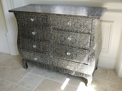 Black Silver Embossed Chest Of 8 Drawers Ornate Storage Unit Bedroom Cabinet New