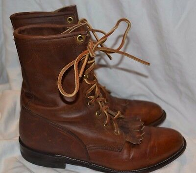 Vtg. Women's Justin Brown Leather Lace Up Boots sz.8B