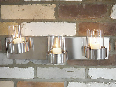 Tea Light Wall Mounted Sconce Brushed Steel 3 Candle Holder Wall Art Votive New