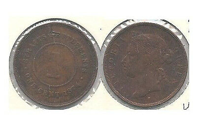 1874-H Straits Settlements One Cent Coin in Very Fine Condition ~