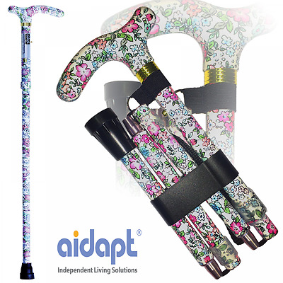Aidapt Folding & Extendable Patterned Walking Stick - Classic Floral - *QUALITY*