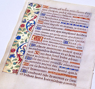 BOOK OF HOURS LEAF ILLUMINATED MANUSCRIPT c. 1470 GOLD, PSALMS, VIBRANT BORDERS!