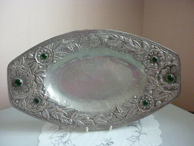 Arts And Crafts Pewter Cabochon Tray