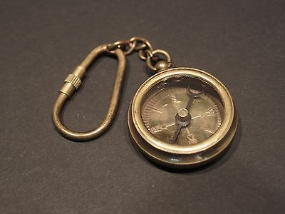 Antique Vintage Style Solid Brass Compass Keychain