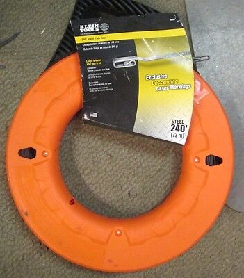 KLEIN TOOLS 56004 Marked Fish Tape, 1/8 In x 240 ft, Steel