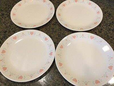 """4-Pc Corelle """"forever Yours"""" 10 1/4"""" Dinner Plates/cream-Pink Hearts/clearance!"""