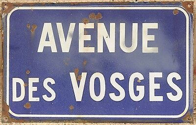 Old French enamel steel street sign road name plaque plate Avenue des Vosges