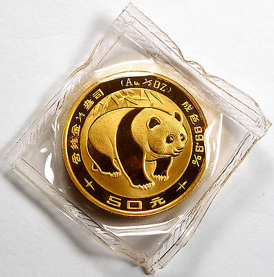 1983 China 50 Yuan 1/2 Oz .999 Fine Gold Panda - Sealed Mint Package