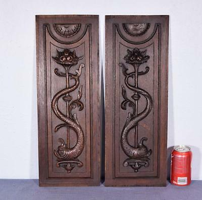 *Pair of Neogothic French Antique Carved Panels in Oak Wood with Griffins