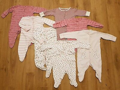 Bundle NEXT baby girls 3-6 months sleepsuits x 7 babygrows lovely condition