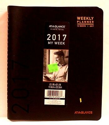 "AT-A-GLANCE 70-545X-00 My Week 2017 Planner 6 7/8"" x 8 3/4"" Black NEW"