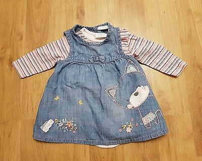 lovely NEXT baby girls 3-6 months dress outfit set long sleeves