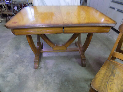 Antique Oak Kitchen Dining Table with matching Chairs