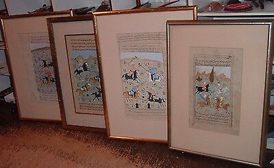 4 large Antique Islamic manuscript Middle East Arabic Hand Painted muslim POLO