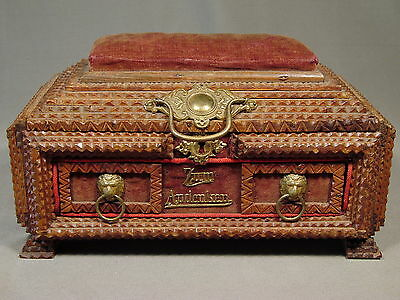 Antique Tramp Art Sewing Jewelry Box Folk Art Americana