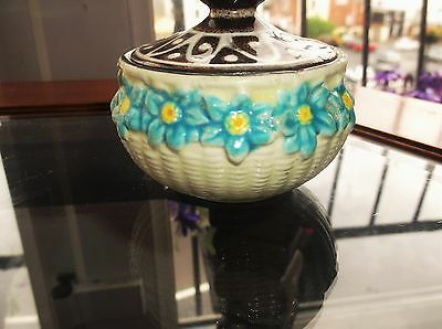 Vintage Maruhon Ware Japan Small Majolica Pot Daisy In Basket Weave With Odd Lid