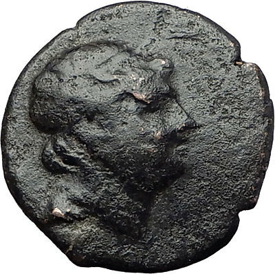 350-100BC Genuine Original AUTHENTIC Ancient Greek City Coin with King i61467