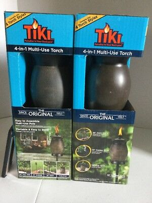 TIKI (Pack of 2) 63 in. Resin Jar 4-in-1 Backyard Deck Patio Torch Stone Color