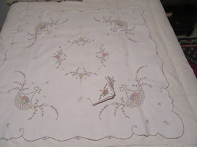 Vintage white linen table supper cloth hand embroidery Madeira pastels napkins